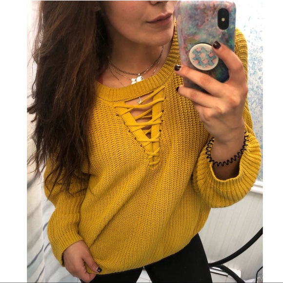 [Ruby Moon] Golden Hour Lace Up Sweater